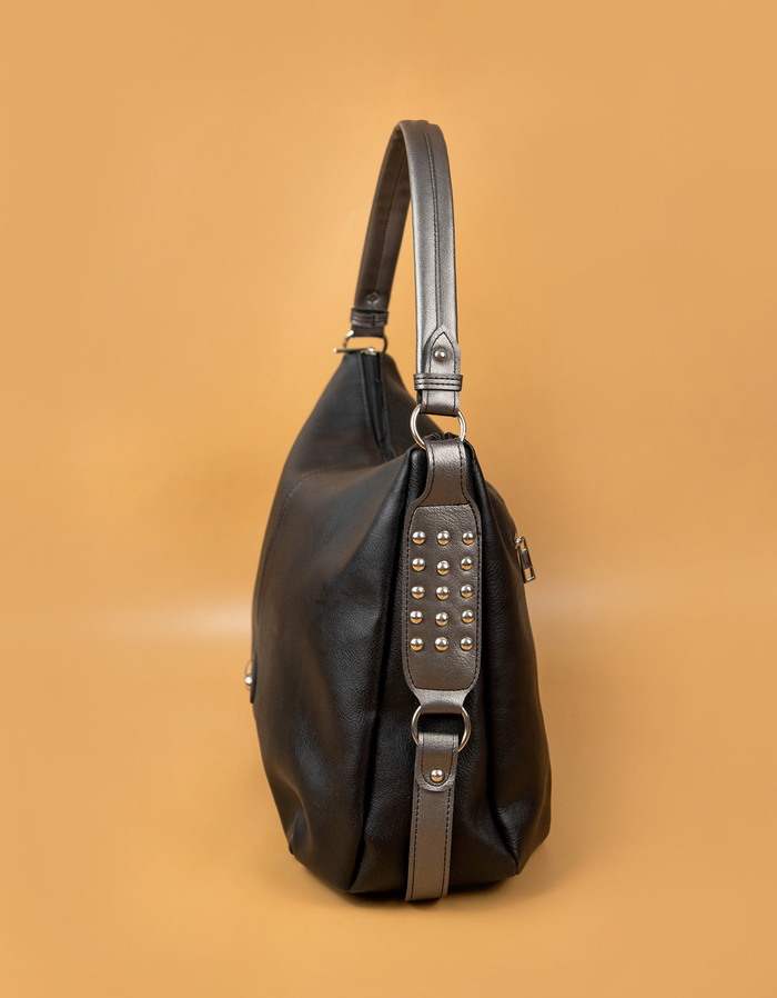 Черна Дамска Чанта-Сиво Код 964