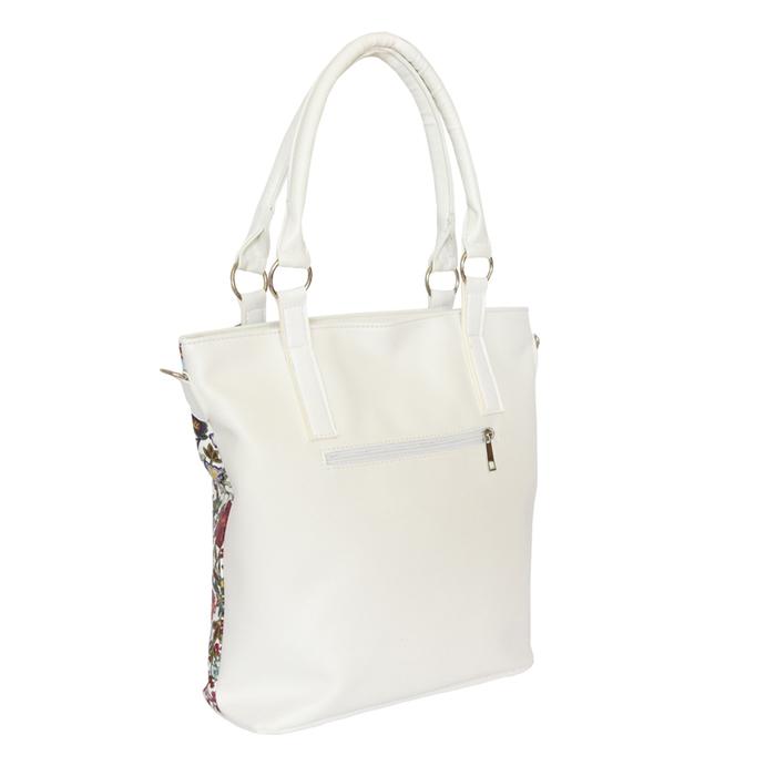 Бяла Дамска Чанта-Цветя Код 747-03