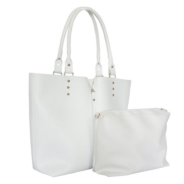 Бяла Дамска Чанта+Несесер Код915-05