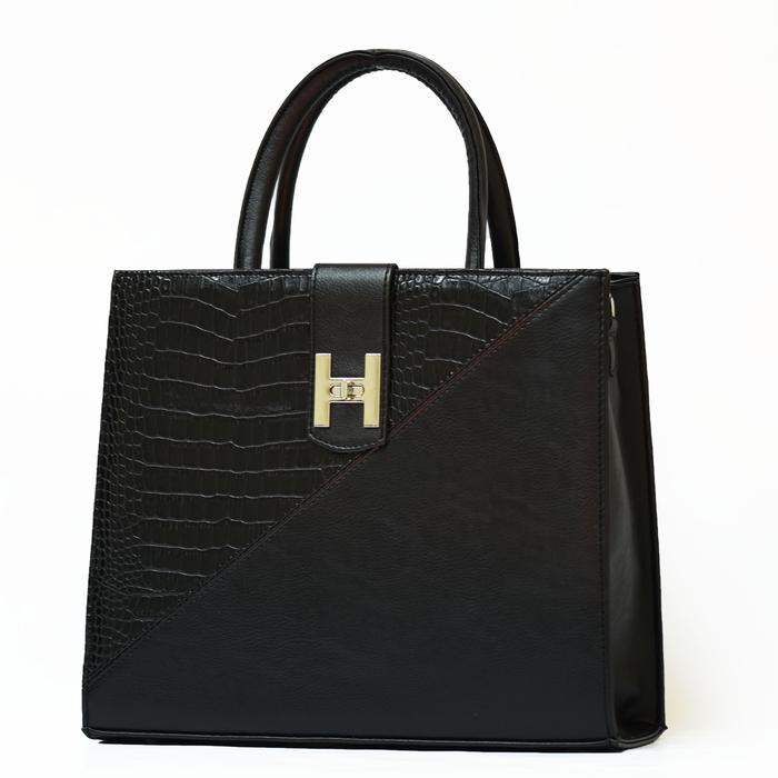 Черна Дамска Чанта-Кроко Код843а-04