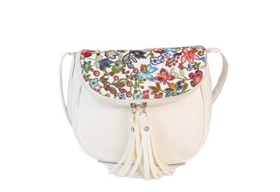 Бяла Дамска Чанта-Цветя Код 899-06