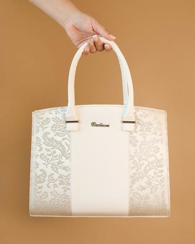 Бяла Дамска Чанта-Дантела Код 852-11