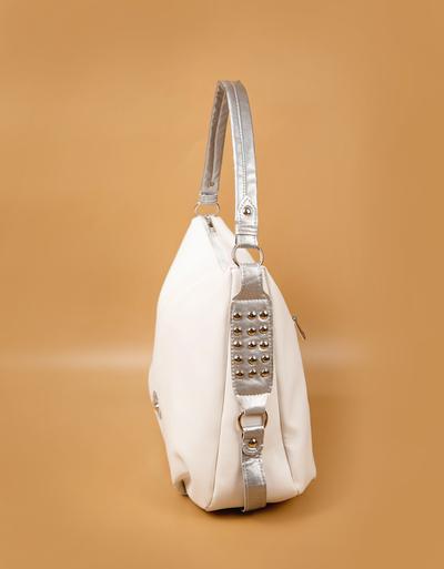 Бяла Дамска Чанта-Сребро Код 964-05