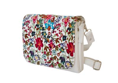 Бяла Дамска Чанта-Цветя Код 604-02