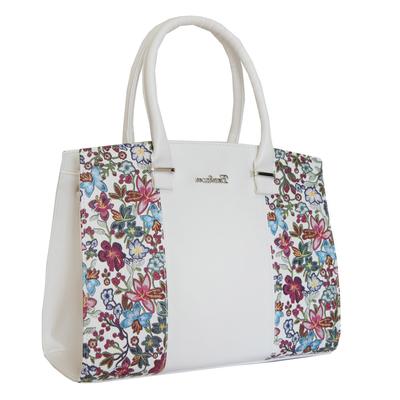 Бяла Дамска Чанта-Цветя Код 852-10