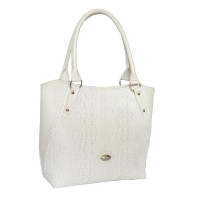 Бяла Дамска Чанта-Кроко Код874