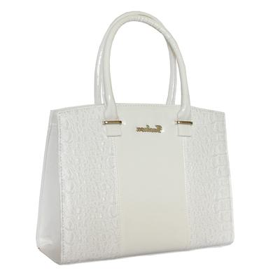 Бяла Дамска Чанта-Кроко Код852-08