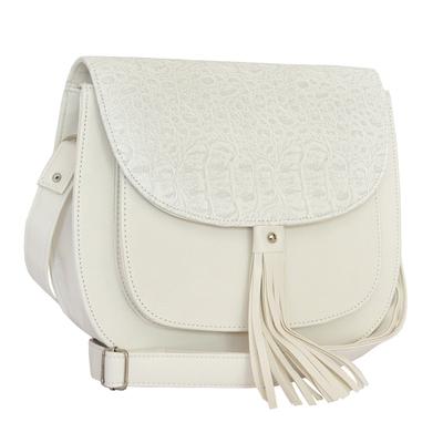 Бяла Дамска Чанта-Кроко Код 891-08