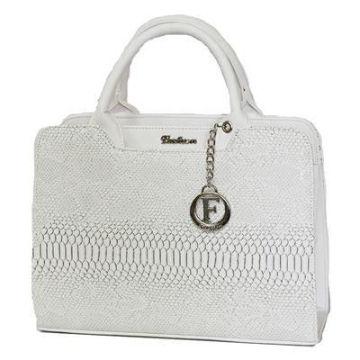 Бяла Дамска Чанта-Кроко Код 821Б-08