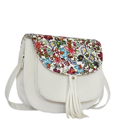 Бяла Дамска Чанта-Цветя Код 891-07